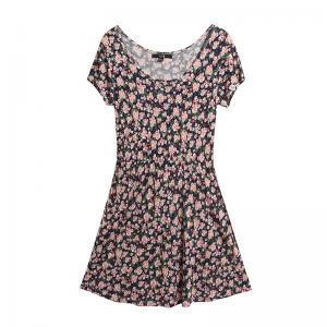 Korean ladies short-sleeved floral ..