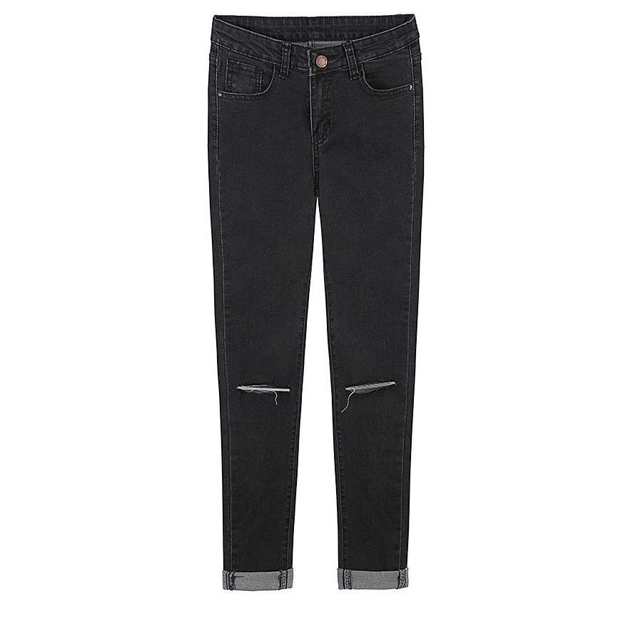 European style hole Washed Slim thin waist pencil pants jeans feet