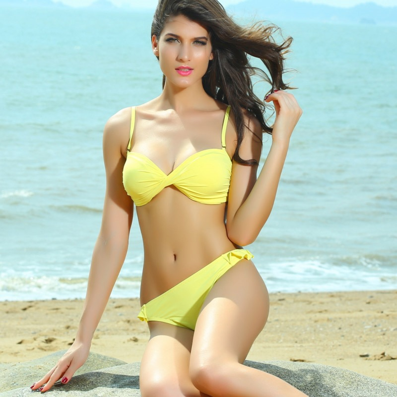85f60d0891387 Cotton Bowl Split Fold Sexy Yellow Bikini Small Chest Gather on Luulla
